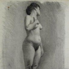 Arte: N5-087. MUJER DESNUDA. DIBUJO AL CARBON. ESCUELA CATALANA. SIGLO XIX.. Lote 50543767