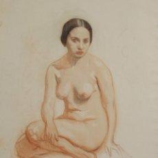 Arte: N5-091. DESNUDO DE MUJER. DIBUJO AL PASTEL. ESCUELA CATALANA. SIGLO XIX.. Lote 50544582