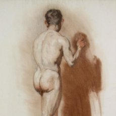 Arte: N5-095. DESNUDO MASCULINO. DIBUJO AL PASTEL. ESCUELA CATALANA. SIGLO XIX.. Lote 50545506