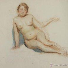 Arte: N5-097. MUJER DESNUDA. DIBUJO AL APASTEL. ESCUELA CATALANA. SIGLO XIX.. Lote 50552504