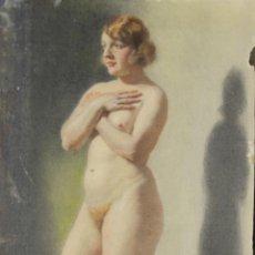 Arte: N5-098. DESNUDO DE MUJER. DIBUJO AL PASTEL. ESCUELA CATALANA. MARTI GRAS. 1924.. Lote 50552664