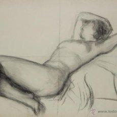 Arte: N5-099. DESNUDO DE MUJER. DIBUJO AL CARBON. ESCUELA CATALANA. SIGLO XIX.. Lote 50552819