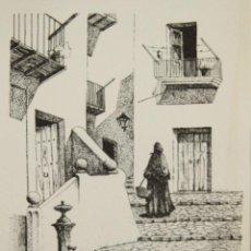 Arte: CALLE DE IBIZA. DIBUJO A TINTA SOBRE PAPEL. FIRMADO CHEVANO. SIGLO XX.. Lote 51118502