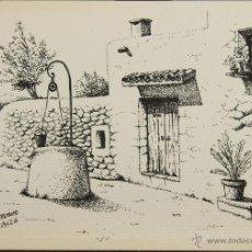 Arte: CALLE DE IBIZA. DIBUJO A TINTA SOBRE PAPEL. FIRMADO CHEVANO. SIGLO XX.. Lote 51118818