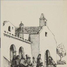 Arte: ESCENA DE IBIZA. DIBUJO A TINTA SOBRE PAPEL. FIRMADO CHEVANO. SIGLO XX.. Lote 51119764