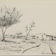 Arte: PAISAJE DE IBIZA. DIBUJO A TINTA SOBRE PAPEL. FIRMADO CHEVANO. SIGLO XX.. Lote 51120358
