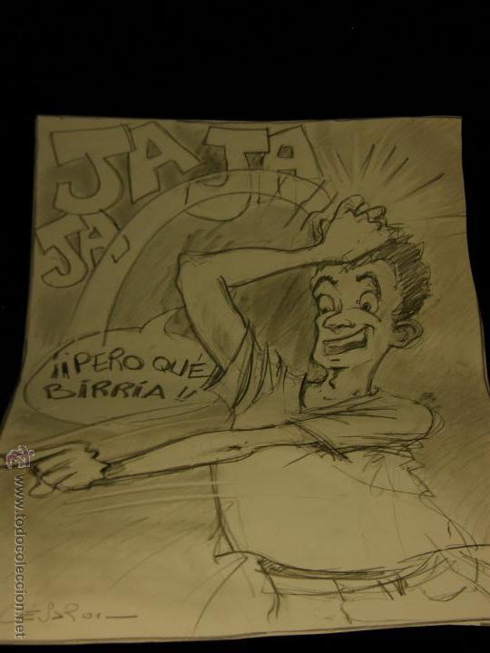 DIBUJO LAPIZ SOBRE CARTULINA PERO QUÉ BIRRIA JA JA JA CHICO CARCAJADA RISA FIRMADO CESAR 01 64X45,5 (Arte - Dibujos - Contemporáneos siglo XX)