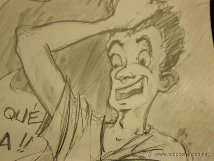 Arte: dibujo lapiz sobre cartulina pero qué birria ja ja ja chico carcajada risa firmado cesar 01 64x45,5 - Foto 6 - 54801031