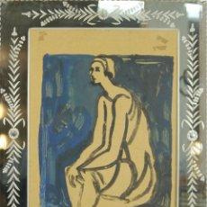 Arte - L1-001. DIBIJO AL PASTEL SOBRE PAPEL. MARCO DE ESPEJO. FIRMA ILEGIBLE. SIGLO XX. - 49389924