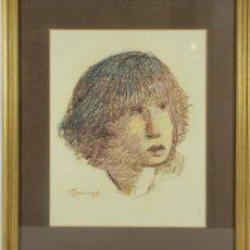 Arte: B1-032. RETRATO DE JOVEN. DIBUJO AL PASTEL SOBRE PAPEL. FIRMADO GUSSINYE. SIGLO XX.. Lote 49126154