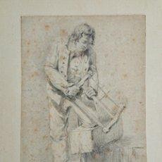Arte: MAGISTRAL RETRATO ORIGINAL A CARBONCILLO DE UN CARPINTERO, PRICIPIOS DEL XVIII, CALIDAD, OLD MASTER. Lote 54892046