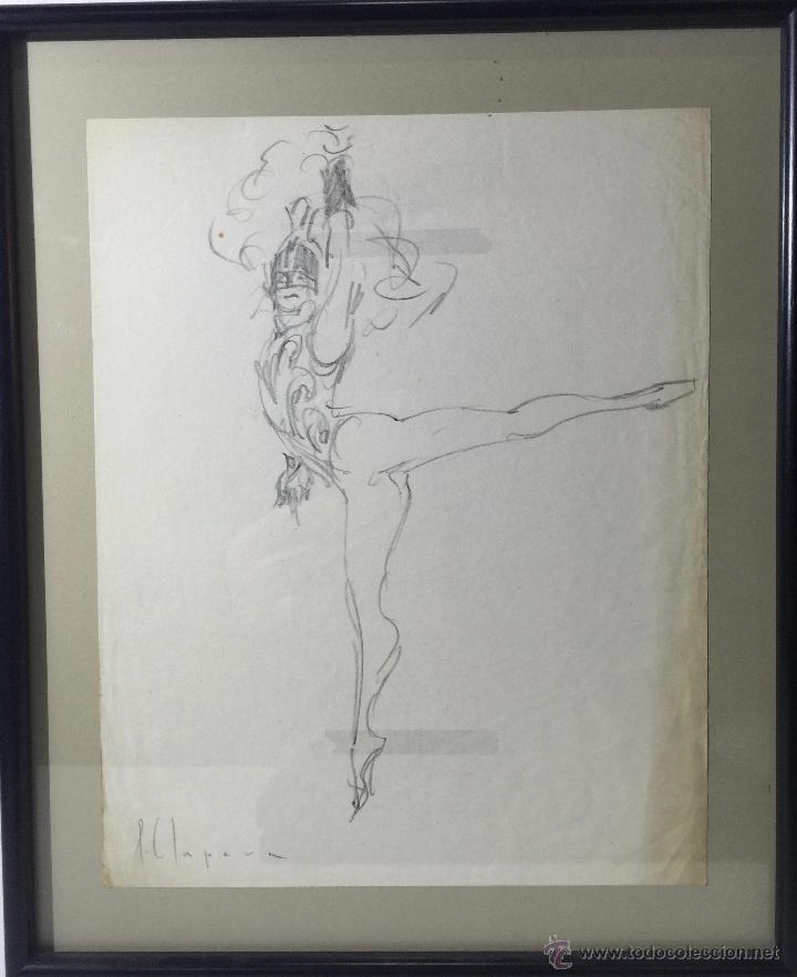 PERE CLAPERA I ARGELAGUER , BONITO DIBUJO A LAPIZ (Arte - Dibujos - Contemporáneos siglo XX)