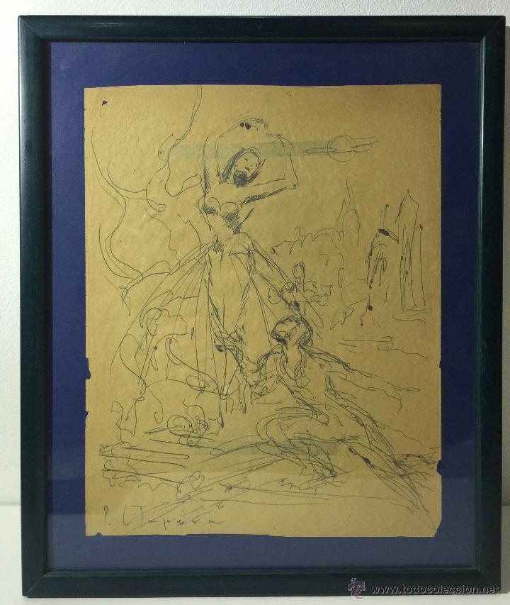 PERE CLAPERA I ARGELAGUER , DIBUJO ORIGINAL A TINTA FIRMADO (Arte - Dibujos - Contemporáneos siglo XX)