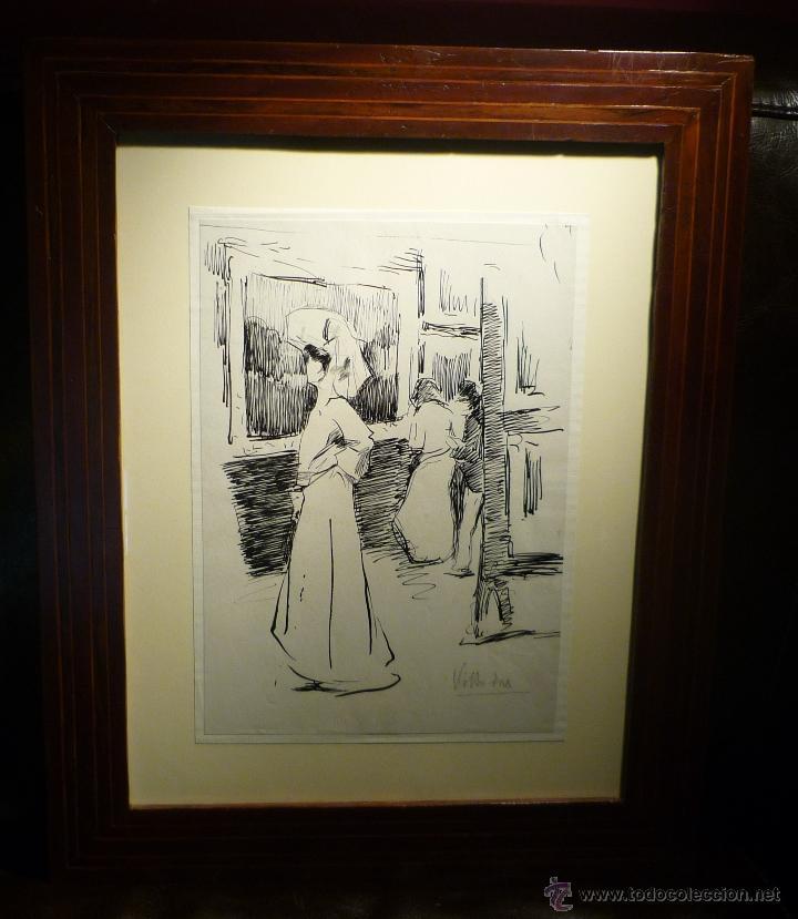 DAMA EN LA EXPOSICION POR RICARDO DE VILLODAS (1846-1904) (Arte - Dibujos - Modernos siglo XIX)