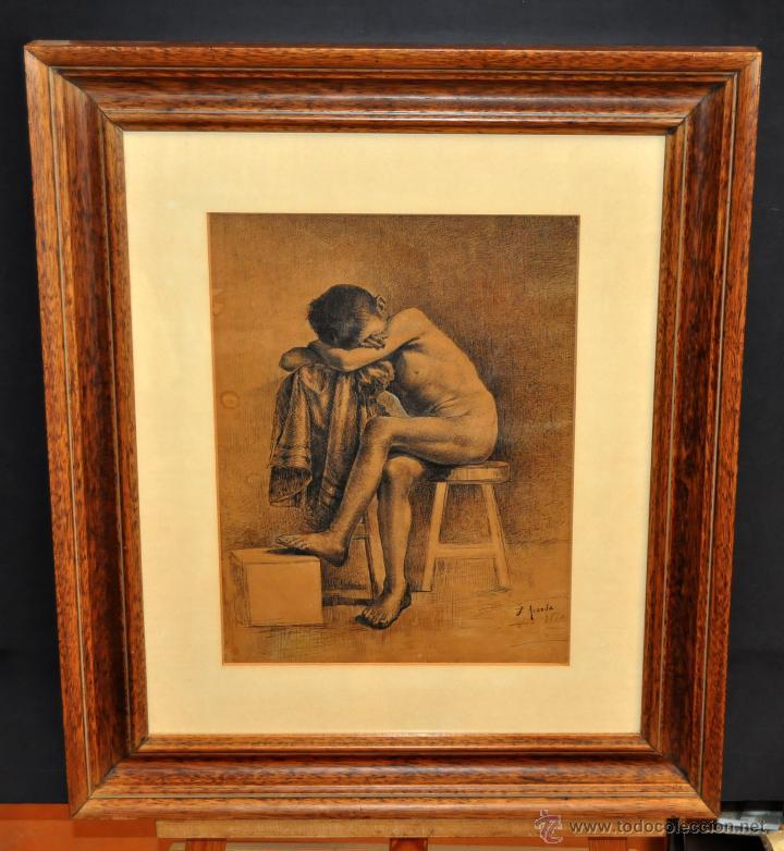 JOSE JIMENEZ ARANDA (SEVILLA, 1837 - 1903) SENSACIONAL DIBUJO A PLUMILLA FECHADO DEL AÑO 1876 (Arte - Dibujos - Modernos siglo XIX)