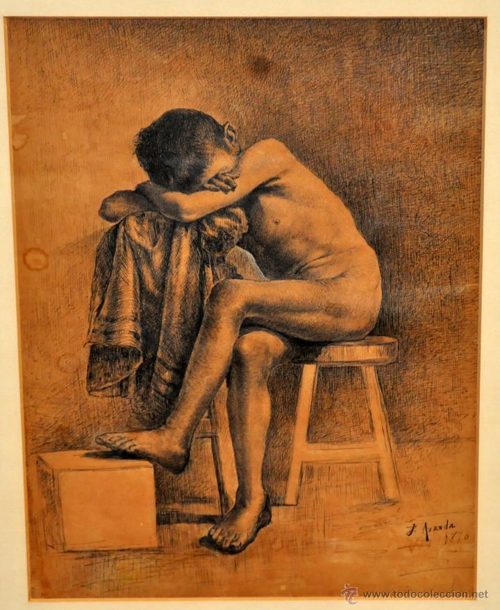 Arte: JOSE JIMENEZ ARANDA (Sevilla, 1837 - 1903) SENSACIONAL DIBUJO A PLUMILLA FECHADO DEL AÑO 1876 - Foto 2 - 54911384