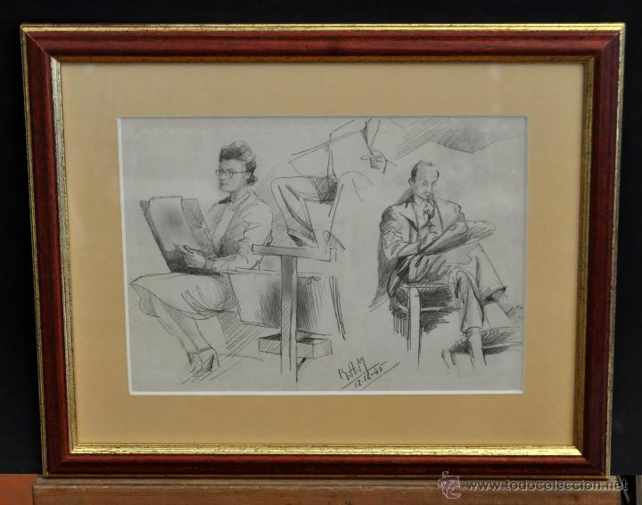 RAMON AGUILAR MORE (BARCELONA, 1924 - 2015) DIBUJO A LÁPIZ SOBRE PAPEL DEL AÑO 1945. EN LA ACADEMIA (Arte - Dibujos - Contemporáneos siglo XX)