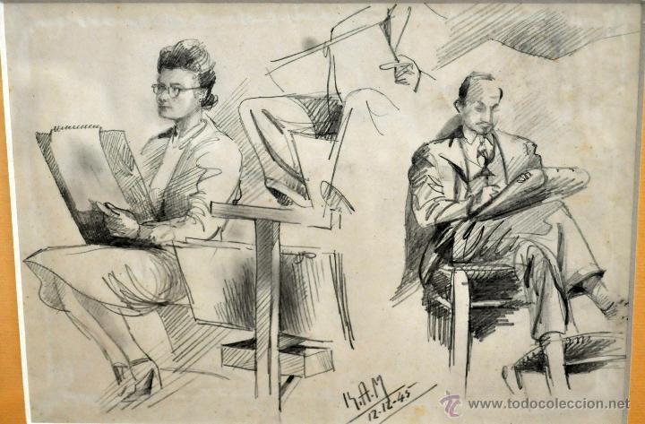 Arte: RAMON AGUILAR MORE (Barcelona, 1924 - 2015) DIBUJO A LÁPIZ SOBRE PAPEL DEL AÑO 1945. EN LA ACADEMIA - Foto 2 - 113137678