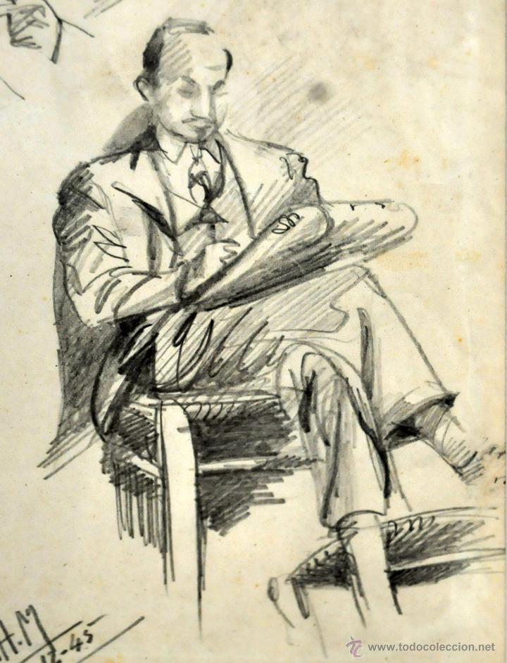 Arte: RAMON AGUILAR MORE (Barcelona, 1924 - 2015) DIBUJO A LÁPIZ SOBRE PAPEL DEL AÑO 1945. EN LA ACADEMIA - Foto 3 - 113137678