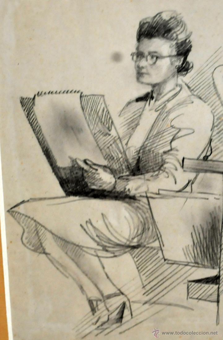 Arte: RAMON AGUILAR MORE (Barcelona, 1924 - 2015) DIBUJO A LÁPIZ SOBRE PAPEL DEL AÑO 1945. EN LA ACADEMIA - Foto 5 - 113137678