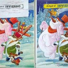 Arte: DIBUJOS ILUSTRACIONES 9 ORIGINALES - TIEMPO DE INVIERNO. Lote 54981652