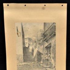 Arte: PERE CIURANA (GIRONA, ACTIVO 1ª MITAD SIG. XX). DIBUJO A LÁPIZ GRASO, AÑO 1947. CALLE CON PERSONAJES. Lote 55114077