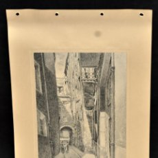Arte: PERE CIURANA (GIRONA, ACTIVO 1ª MITAD SIG. XX). DIBUJO A LÁPIZ GRASO, AÑO 1949. CALLE CON PERSONAJES. Lote 55164975