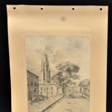 Arte: PERE CIURANA (GIRONA, ACTIVO 1ª MITAD SIG. XX). DIBUJO A LÁPIZ GRASO, AÑO 1946. VISTA URBANA. Lote 55165306