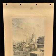 Arte: PERE CIURANA (GIRONA, ACTIVO 1ª MITAD SIG. XX). DIBUJO A LÁPIZ GRASO, AÑO 1947. VISTA URBANA. Lote 55165510