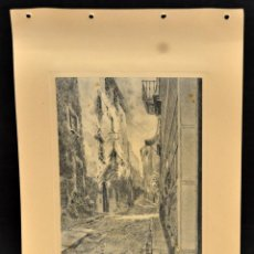 Arte: PERE CIURANA (GIRONA, ACTIVO 1ª MITAD SIG. XX). DIBUJO A LÁPIZ, AÑO 1947. CASCO ANTIGUO DE GIRONA. Lote 55165566
