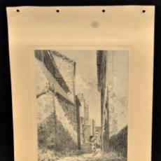 Arte: PERE CIURANA (GIRONA, ACTIVO 1ª MITAD SIG. XX). DIBUJO A LÁPIZ GRASO, AÑO 1946. VISTA URBANA. Lote 55165594