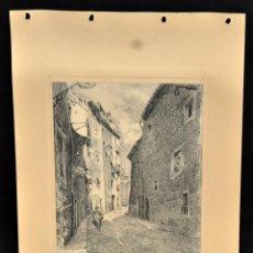 Arte: PERE CIURANA (GIRONA, ACTIVO 1ª MITAD SIG. XX). DIBUJO A LÁPIZ GRASO, AÑO 1948. VISTA DE UNA CALLE. Lote 55165625