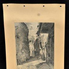 Arte: PERE CIURANA (GIRONA, ACTIVO 1ª MITAD SIG. XX). DIBUJO A LÁPIZ GRASO, AÑO 1948. VISTA DE UNA CALLE. Lote 55165645