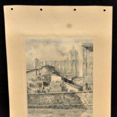 Arte: PERE CIURANA (GIRONA, ACTIVO 1ª MITAD SIG. XX). DIBUJO A LÁPIZ GRASO, AÑO 1947. CATEDRAL DE GIRONA. Lote 55165918