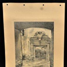 Arte: PERE CIURANA (GIRONA, ACTIVO 1ª MITAD SIG. XX). DIBUJO A LÁPIZ GRASO, AÑO 1946. PATIO INTERIOR. Lote 55166019