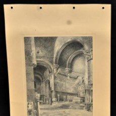 Arte: PERE CIURANA (GIRONA, ACTIVO 1ª MITAD SIG. XX). DIBUJO A LÁPIZ GRASO, AÑO 1946. INTERIOR IGLESIA. Lote 55166118