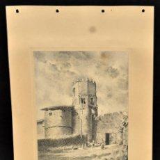 Arte: PERE CIURANA (GIRONA, ACTIVO 1ª MITAD SIG. XX). DIBUJO A LÁPIZ GRASO, AÑO 1949. PAISAJE. Lote 55167447