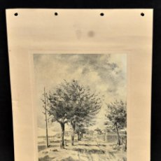 Arte: PERE CIURANA (GIRONA, ACTIVO 1ª MITAD SIG. XX). DIBUJO A LÁPIZ GRASO, AÑO 1951. VISTA RURAL. Lote 55168011