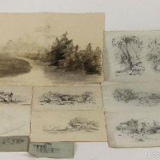 Arte: DI-053. COLECCION DE 10 DIBUJOS AL CARBON SOBRE PAPEL. JOAN SERRAHIMA. SIGLO XIX. . Lote 55172228