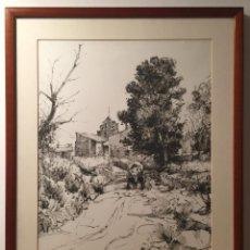 Arte: FRANCISCO CLAVERO , DIBUJO AL CARBON SOBRE PAPEL DE SANTA FE DEL PENEDES 1986. Lote 55338180