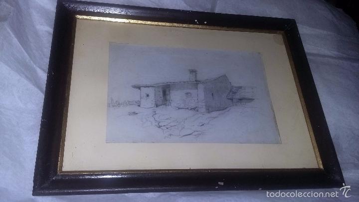 DIBUJO ENMARCADO ANTIGUO PP. S. XX PAISAJE CASA (Arte - Dibujos - Contemporáneos siglo XX)