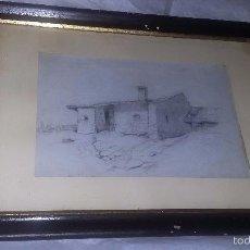 Arte: DIBUJO ENMARCADO ANTIGUO PP. S. XX PAISAJE CASA. Lote 55402137