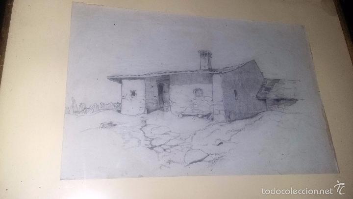 Arte: DIBUJO ENMARCADO ANTIGUO PP. S. XX PAISAJE CASA - Foto 2 - 55402137