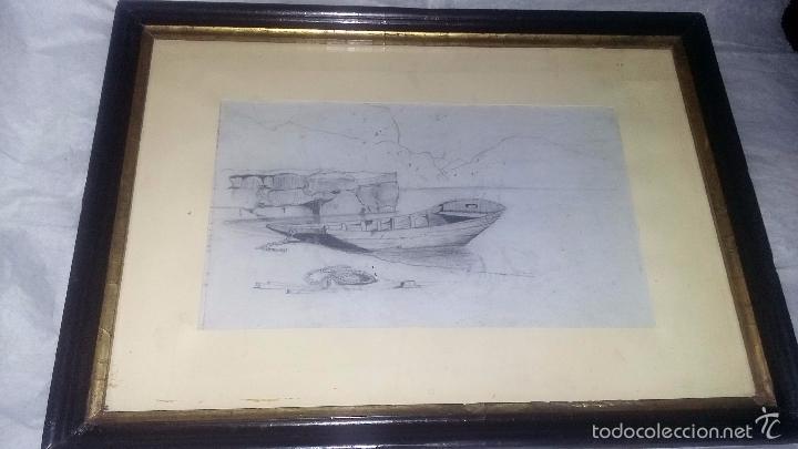 DIBUJO A LÁPIZ, ENMARCADO, PP. DEL S. XX DE UNA SERIE DE 4 PUESTOS EN VENTA (Arte - Dibujos - Contemporáneos siglo XX)