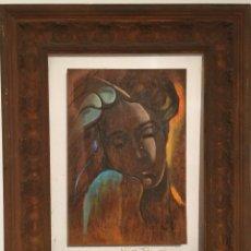 Arte: ANGEL CALVENTE , TECNICA MIXTA SOBRE MADERA CERTIFICADO, MUY BUENO. Lote 55711520