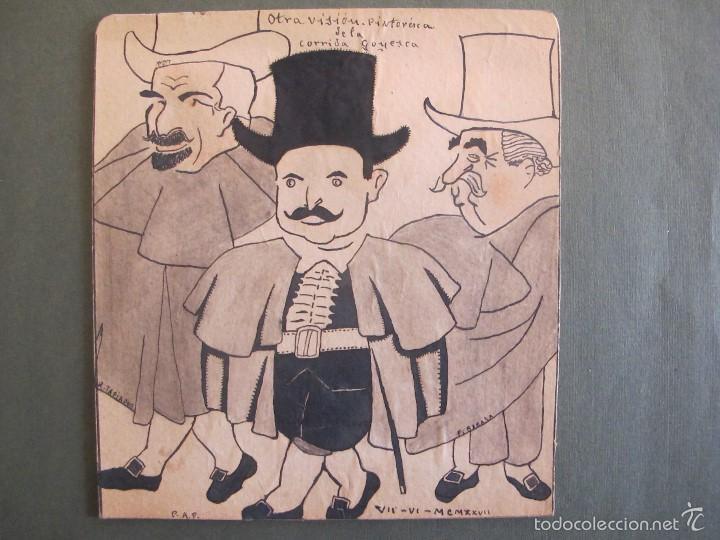 DIBUJO ORIGINAL-CARICATURA. VISIÓN PINTORESCA DE LA CORRIDA GOYESCA. (Arte - Dibujos - Modernos siglo XIX)