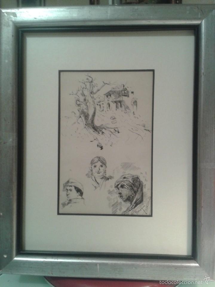 Arte: Dibujo de bocetos a plumilla de Pedro Beroqui (s.XIX) - Foto 2 - 55806290