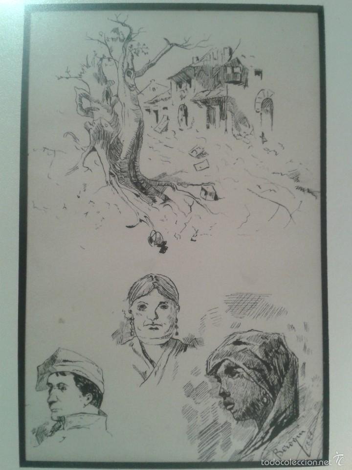 Arte: Dibujo de bocetos a plumilla de Pedro Beroqui (s.XIX) - Foto 5 - 55806290