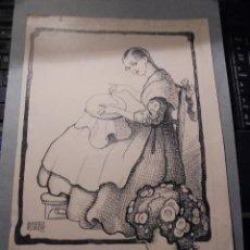 Arte: AGUDO CLARÁ - PINTOR - ZARAGOZA 1880 IBIZA 1966 - ANTIGUO DIBUJO A PLUMILLA , NIÑA BORDANDO , SU PRO. Lote 55884052