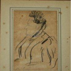 Arte: O2-070. RETRATO DE DAMA. GRAFITO Y CARBONCILLO SOBRE PAPEL. RAMON CASAS(?). ESPAÑA. XIX.. Lote 55880243